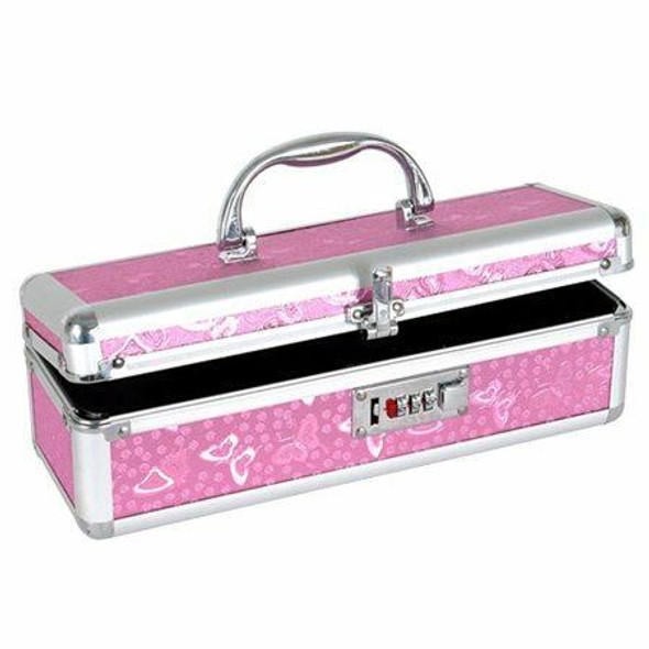 """Keep your toys safe from prying eyes with this stylish and secure lockable vibrator case from The Toy Chest. Featuring a pink butterfly finish, sturdy construction and a combination lock you set yourself this Toy Chest is perfect for safely storing toys up to 11"""" long and 3.5"""" wide."""