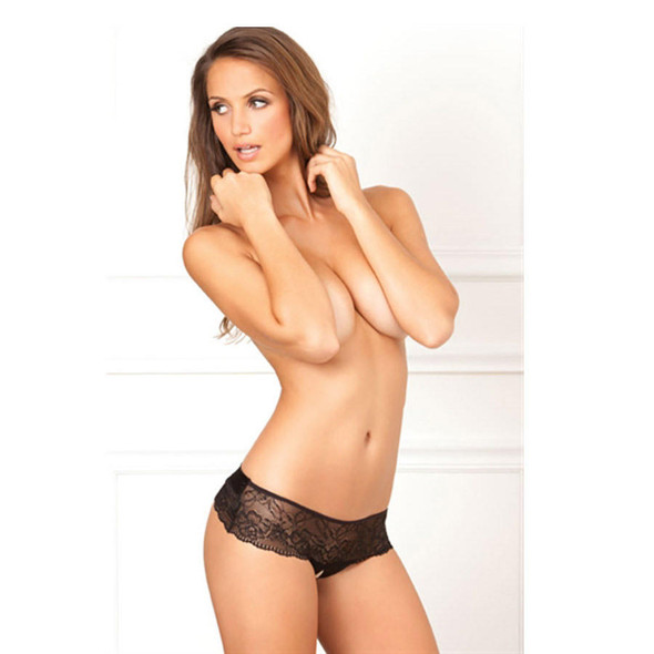 Crotchless Lace Thong with Back Bow