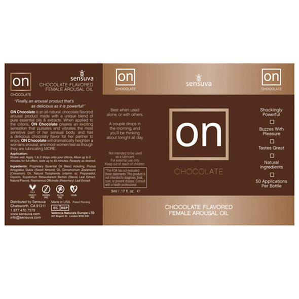 ON Chocolate Flavored Female Arousal Oil Details