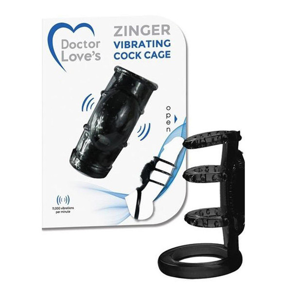 Doctor Love's Vibrating Cock Cage in Black