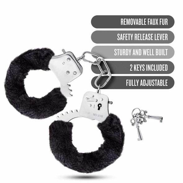 Temptasia Black Faux Fur Cuffs