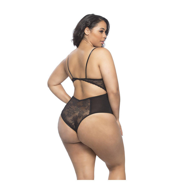 Lace and Mesh Teddy with Underwire Queen Size
