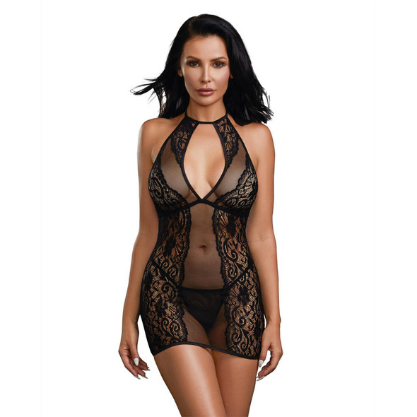 Dreamgirl Halter Chemise - One Size