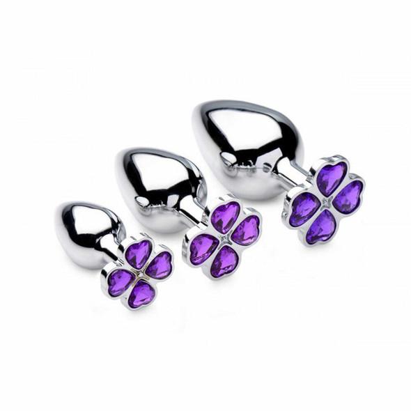 Violet Flower Gem Anal Plug Set
