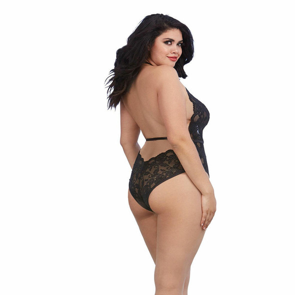 Dreamgirl Black Lace & Meshy Teddy - Queen Size - Back