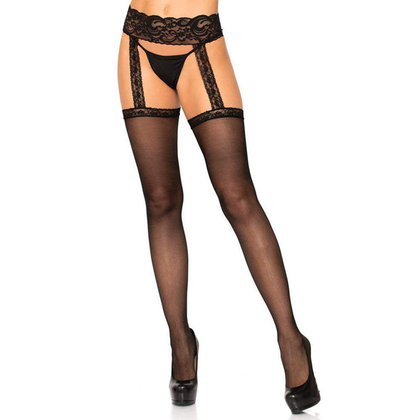 Leg Avenue Sheer Thigh Highs with attached Garter