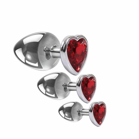 Adam & Eve Three Hearts Gem & Metal Anal Plug Set