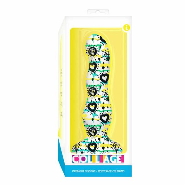 Collage Hearts & Diamonds Curvy Silicone Dildo Box