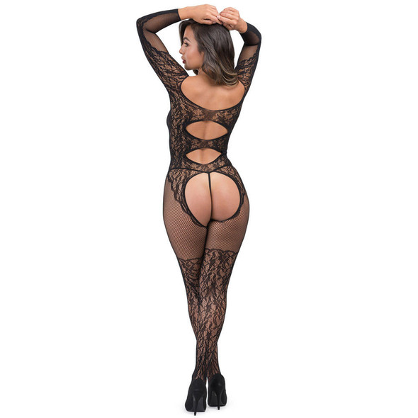 Fifty Shades Captivate Lace Spanking Bodystocking Rear View