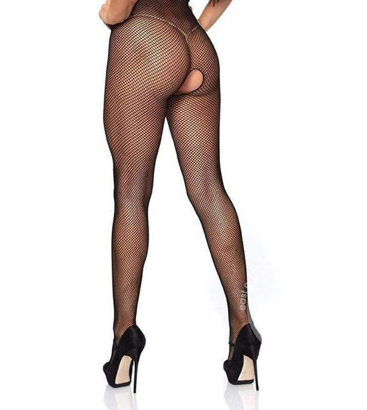 Seamless Fishnet Halter Cupless and Crotchless Bodystocking