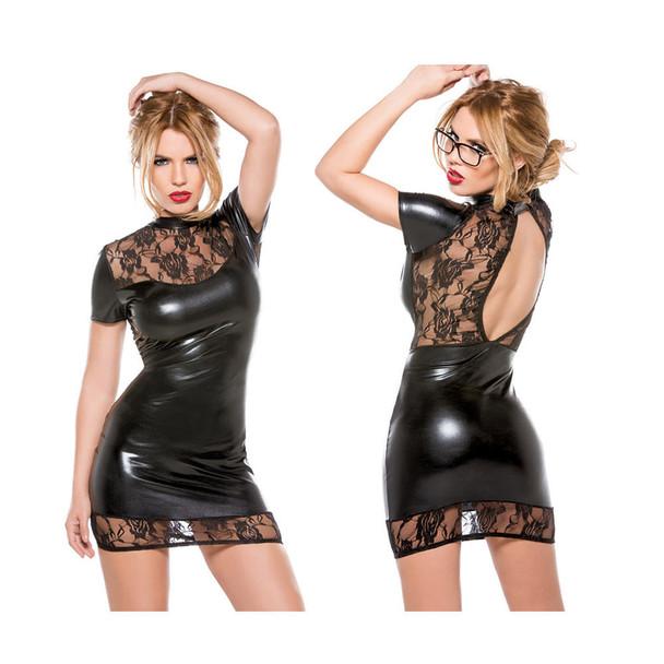 Kitten Lace & Wet Look Mini Dress