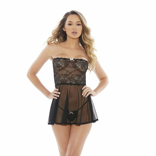 Barely Bare Mesh & Lace Baby Doll
