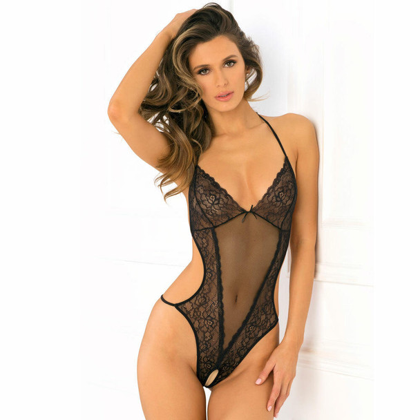 Rene Rofe Crotchless Lace & Mesh Teddy