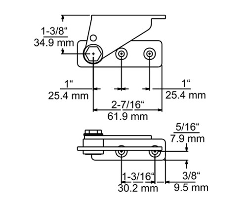 Kason-1512-Horizontal-face-mounted-pivot-hinge-drawing-11512000004