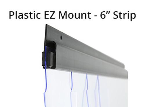 """Freezer, Strip Curtain, Vinyl Strip, PVC, 6"""" Wide x 84"""" Long Curtains, Plastic EZ Mount Bracket"""