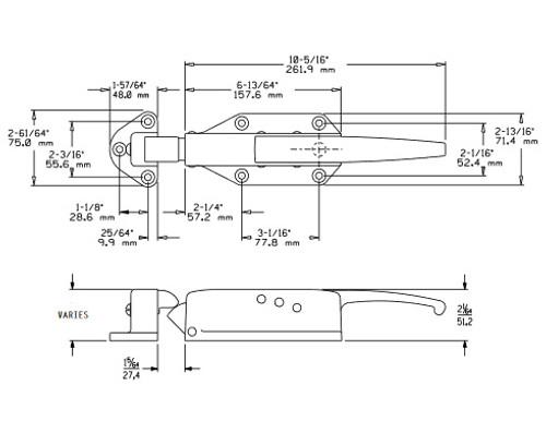 Kason-0058-radial-safety-latch-strike-drawing-0058CH5020-0058H05021-0058005001-0058005002-0058005003