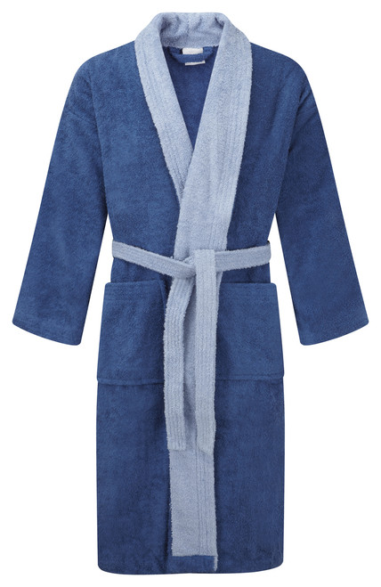 Dark Blue Robe & Light Blue Trim DRESSING GOWNS