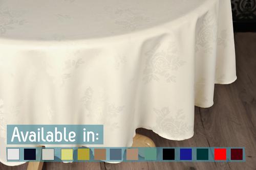 Circular Damask Rose Design Tablecloths & Napkins - 100% Polyester
