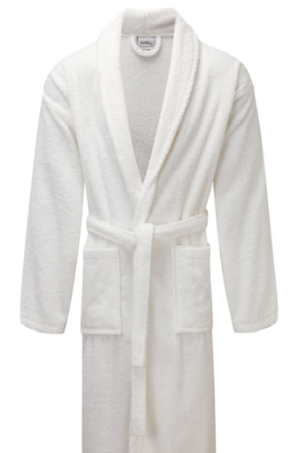 Luxury Shawl Collar White Terry Towelling Dressing Gown - Egyptian Collection Soft Cotton