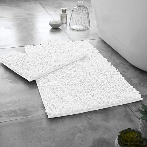 Heavyweight Polyester Chenille Microfibre Bath Mat - Anti Slip Reverse