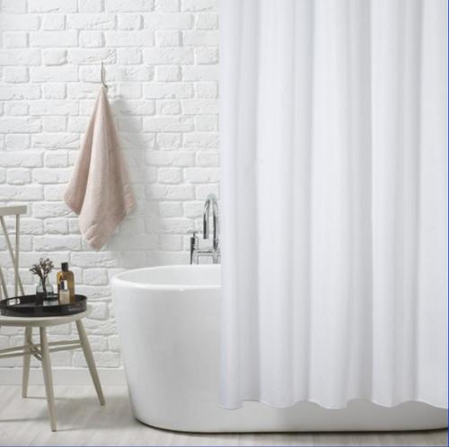 Classic Plain White Shower Curtain - Hookless