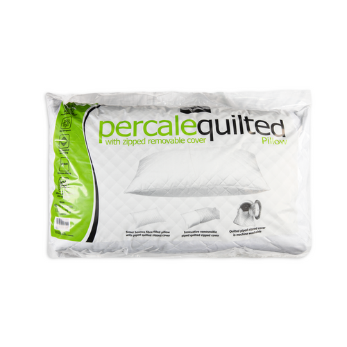 Quilted Percale Pillow with Zipped Removable Cover