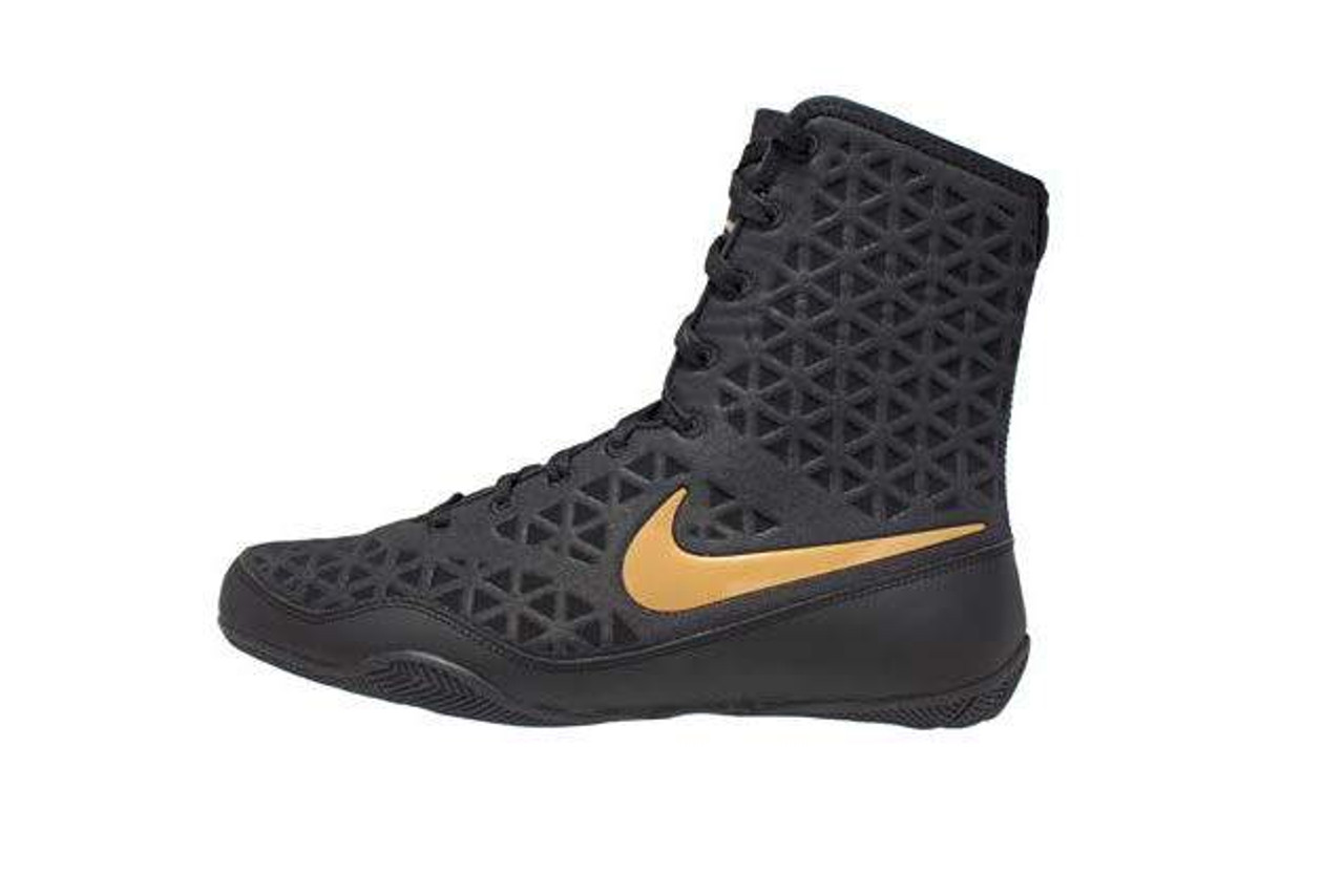 Nike KO Boxing Shoes - Black/Gold   PRO