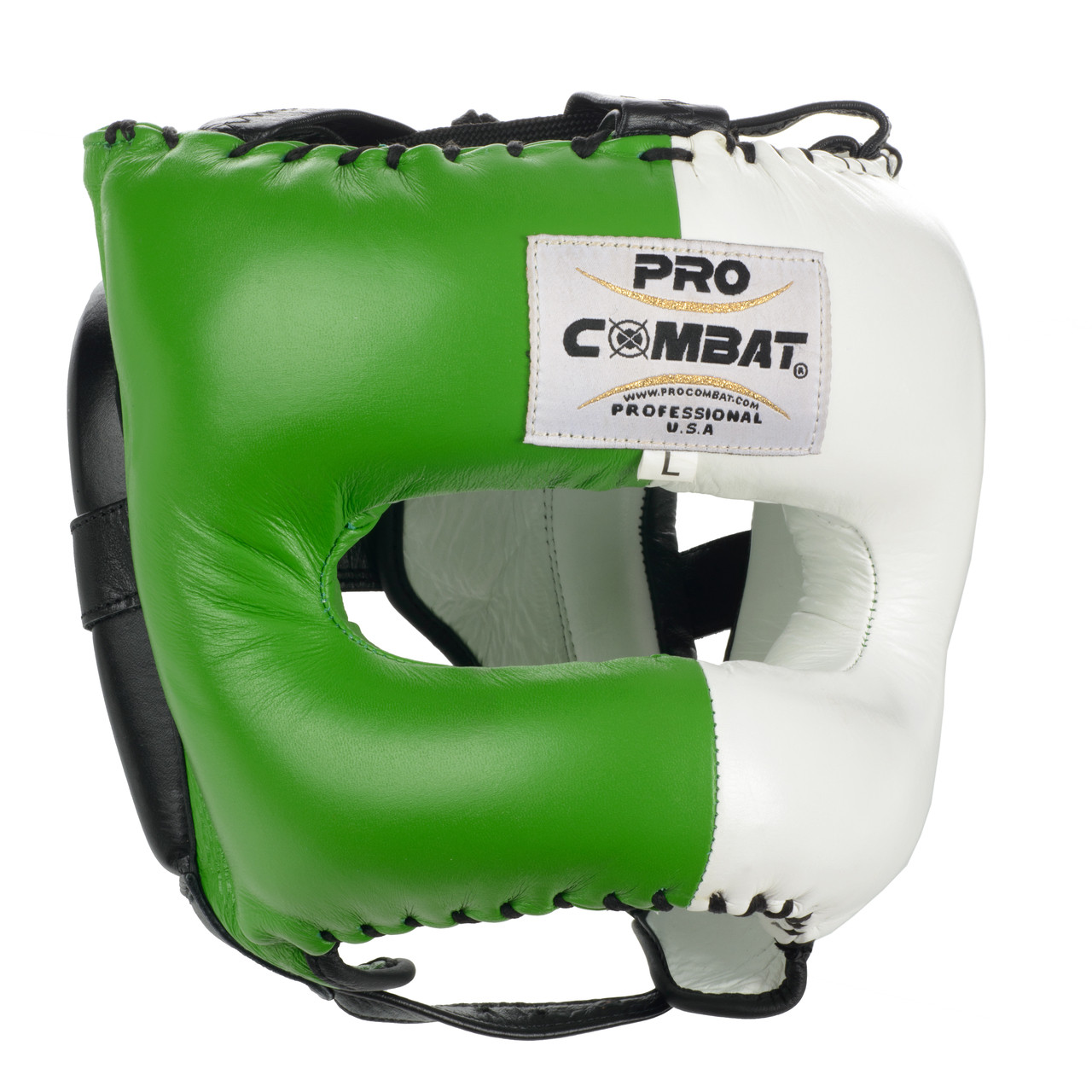 3a474a9b3 PRO COMBAT Face Saver Leather Boxing Headgear with Nylon Face Bar - Green /  White Color