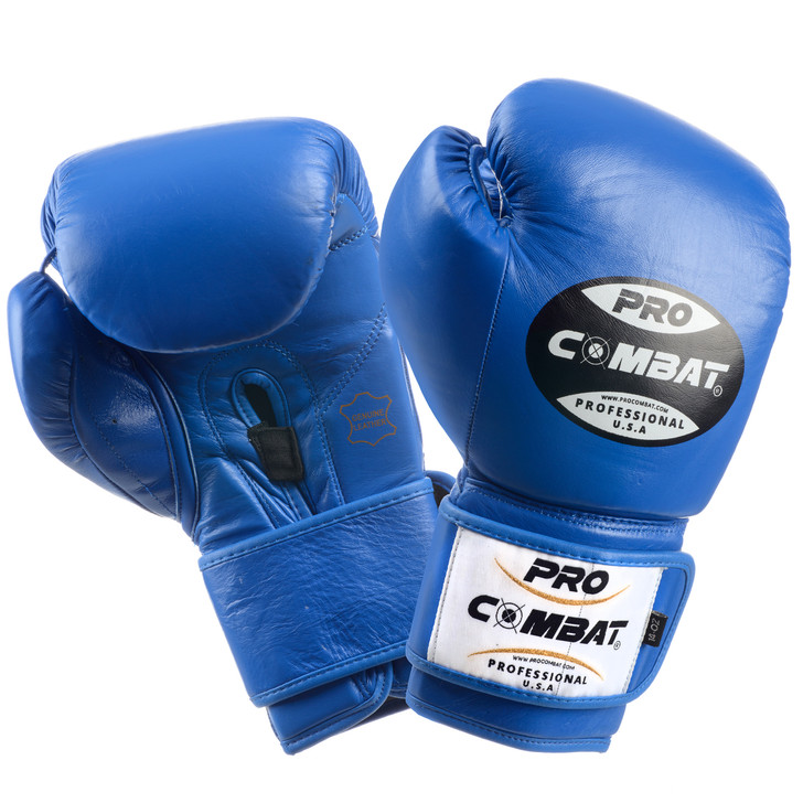 PRO COMBAT Professional Boxing Training Gloves Blue