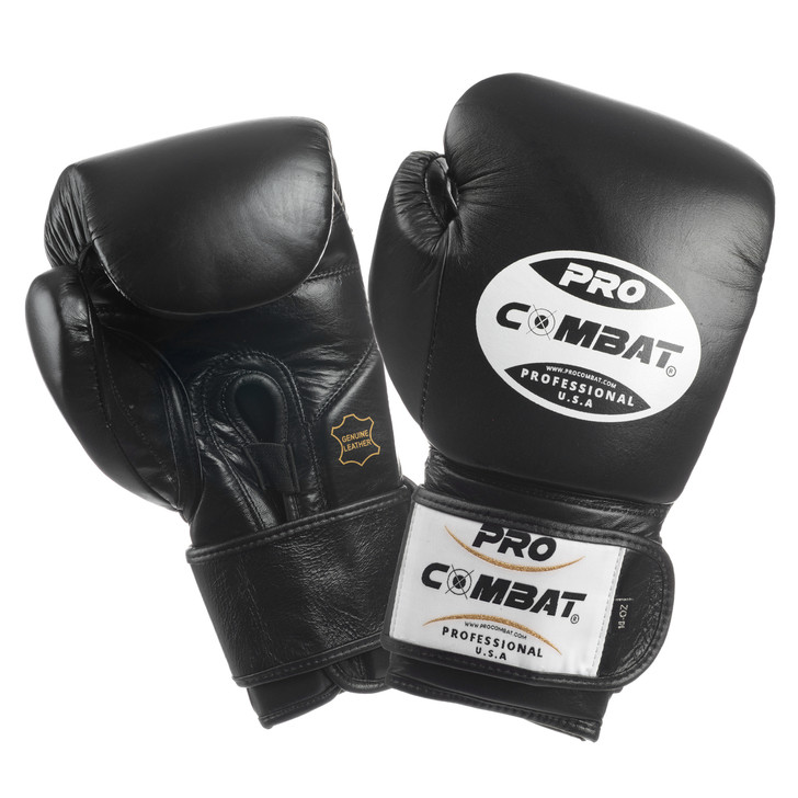 PRO COMBAT Training Gloves with Velcro Closure Black Color