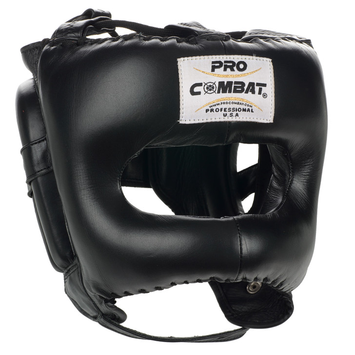 PRO COMBAT Face Saver Leather Boxing Headgear with Nylon Face Bar - Black