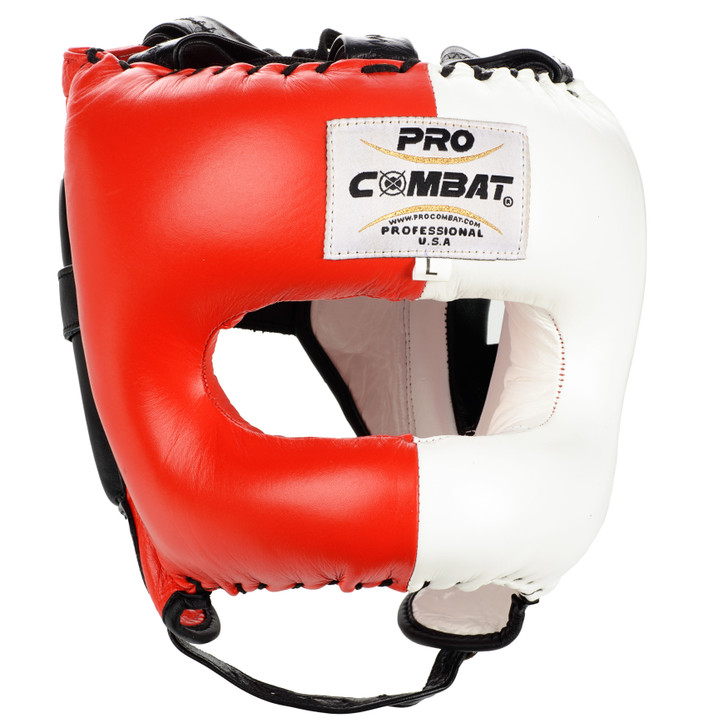 PRO COMBAT Face Saver Leather Boxing Headgear with Nylon Face Bar - Red/White