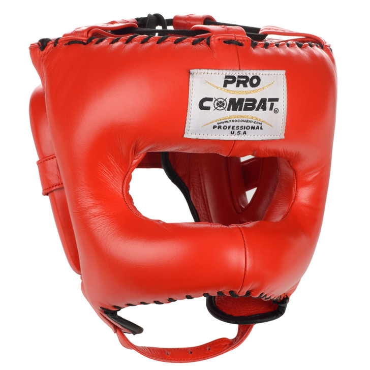 PRO COMBAT Face Saver Leather Boxing Headgear with Nylon Face Bar - Red