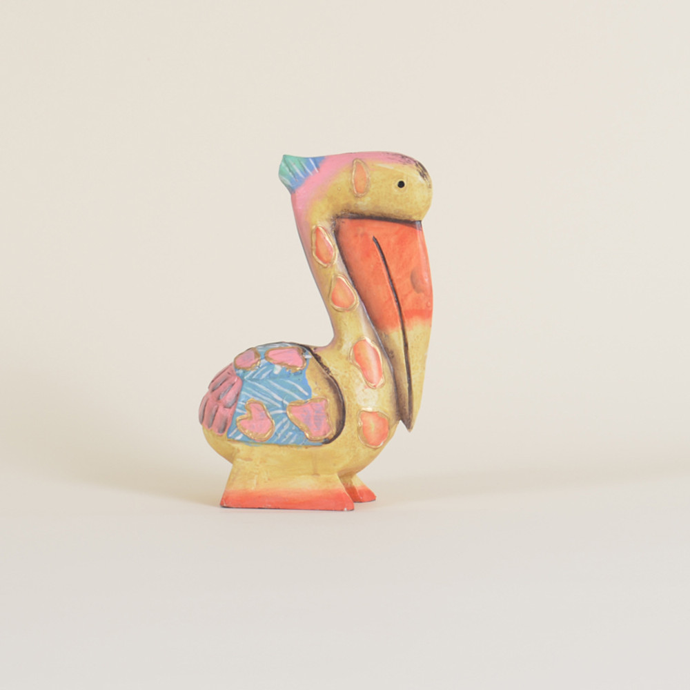 04-66 Small Whimsical Wooden Pelican