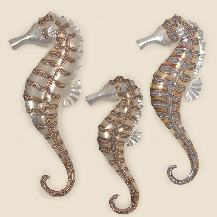 OUT-17-102 Set of 3 Stainless Sea Horse Wall Hanging