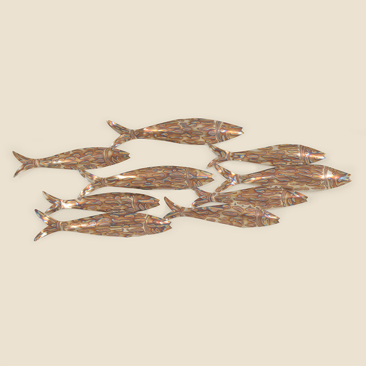 OUT-17-101 Stainless School of Fish Wall Hanging
