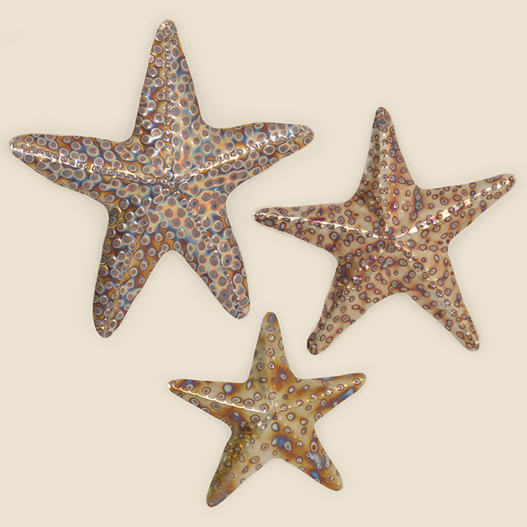 OUT-17-106,HTR Set of 3 Stainless School of Starfish Wall Hanging