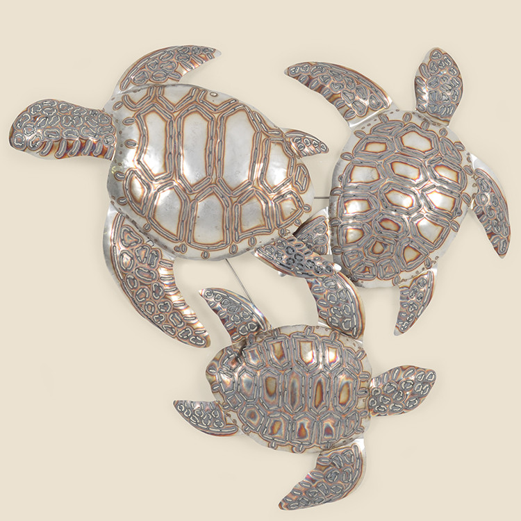 OUT-17-110  Stainless Steel Sea Turtle Trio Wall Hanging