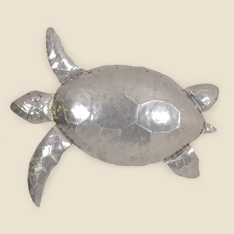 OUT-17-108,SIL  Small Stainless Steel Sea Turtle  Wall Hanging