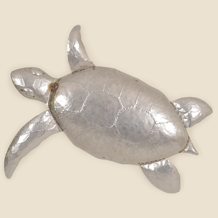 OUT-17-107,SIL  Large Stainless Steel Sea Turtle  Wall Hanging