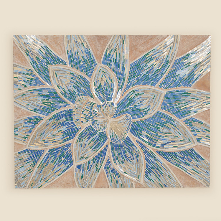 17-060  Blue Floral Mosaic Wall Hanging