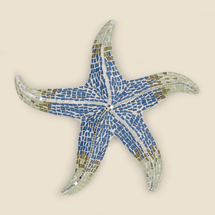 17-064  Large Blue & White Mosaic Starfish Wall Hanging