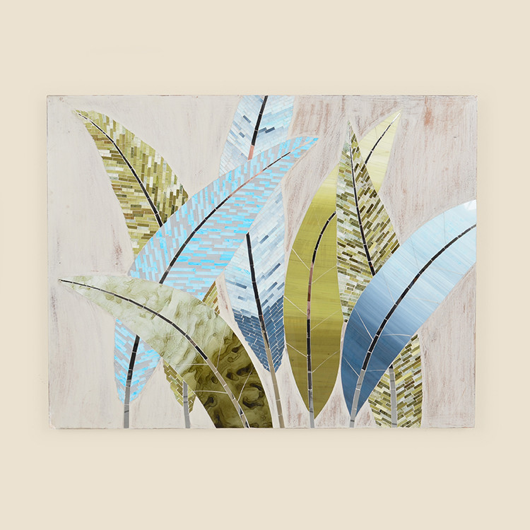 17-067 Mosaic Leaves on Wood Wall Hanging