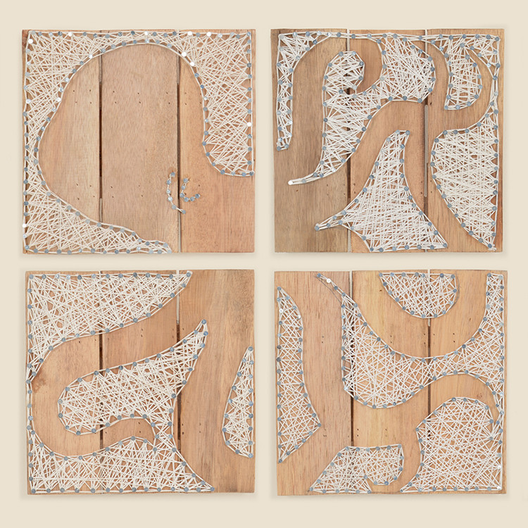 17-073 Set of 4 Octopus String Art on Wood Wall Hanging
