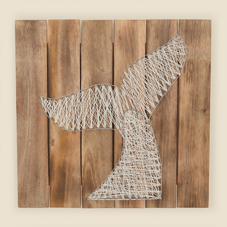 17-068 Whale Tail String Art on Wood Wall Hanging