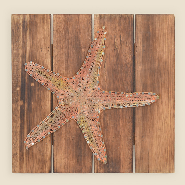 17-076,LG Large Starfish String Art on Wood Wall Hanging