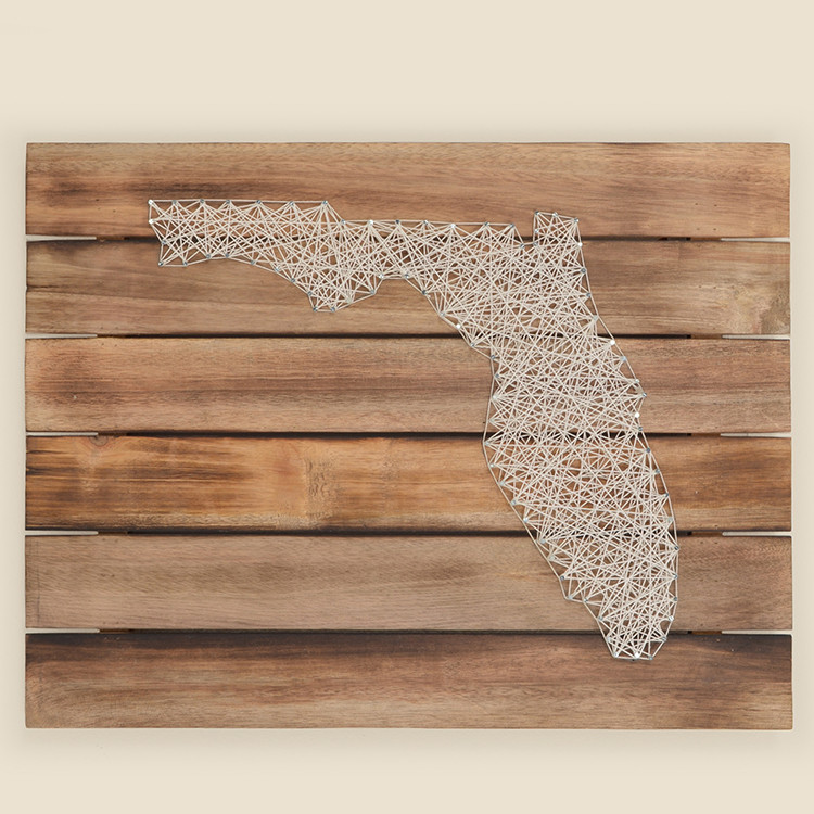 17-075  Florida String Art on Wood Wall Hanging