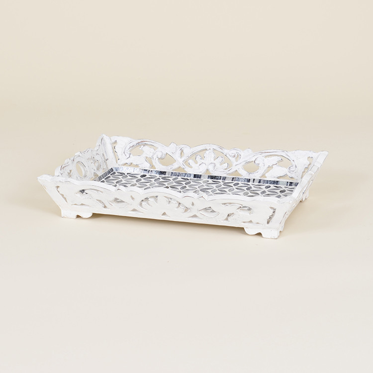 17-031 Distressed Wooden & Mosaic Serving Tray