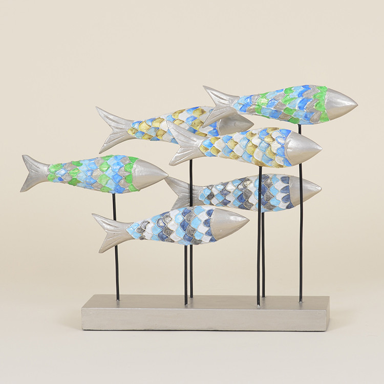 17-028 Colorful Wooden School of Fish on Stand
