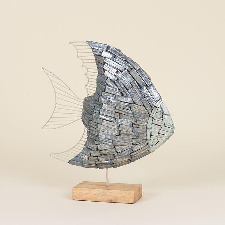 17-025 Painted Driftwood Angel Fish on Stand